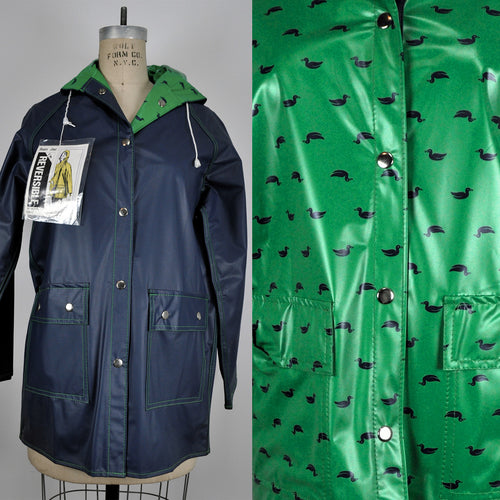 Vintage Duck Pattern Reversible Blue and Green Raincoat