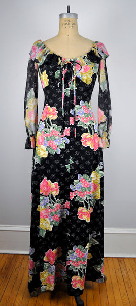 Vintage Floorlength Black and Floral Ruffled  Empire Waist Dress
