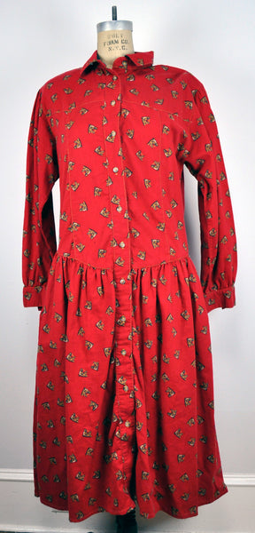 Vintage Alain Toussaint Red Horse Print Button down Dress
