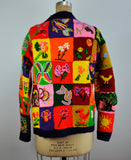 Vintage Knit Patchwork Bright Novelty Sweater Cardigan