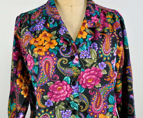 Vintage Floral Button Down Paisley Lightweight Jacket