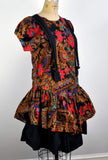 Vintage Red and Black Suspender Fun Floral Party Dress