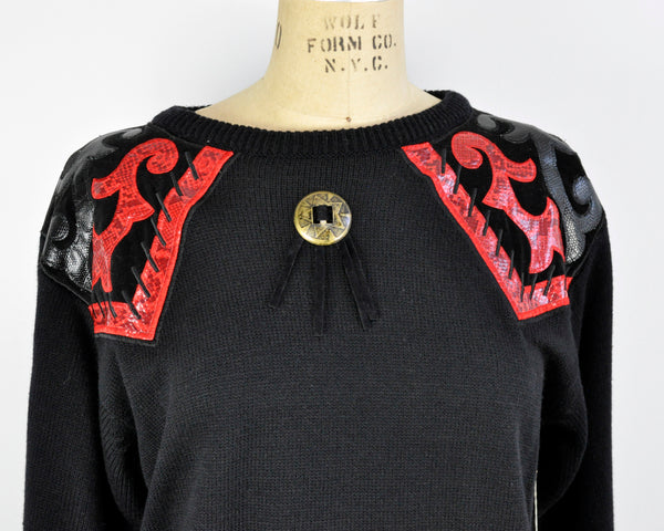Vintage Red and Black Applique Cowgirl Western Sweater Dress Faux Leather