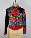 Vintage 90s Bright Geometric Pattern Cowgirl Shirt with Fringe
