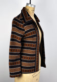 Vintage California Girl Open Boho Brown Striped Jacket Cardigan