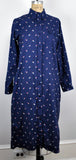Vintage Blue Long Dunloggin Shirtmaker Duck Pattern Dress