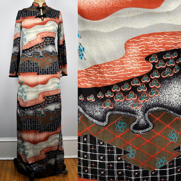 Vintage Mandarin Collar Orange and Black Scenic Landscape Maxi Dress