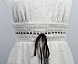 Vintage Sleeveless Heather Gray Brown Cinched Crochet Waist Mini Dress