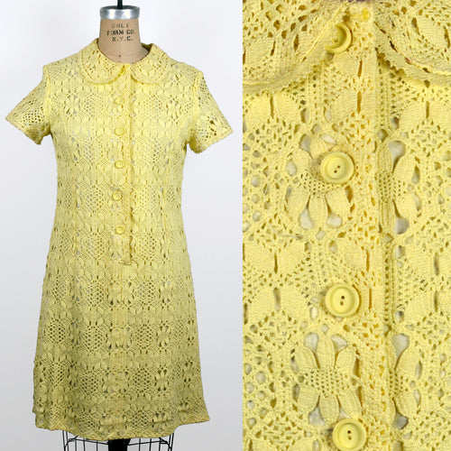 Vintage Crochet Knit Lined Buttercup Yellow Short Sleeved Dress