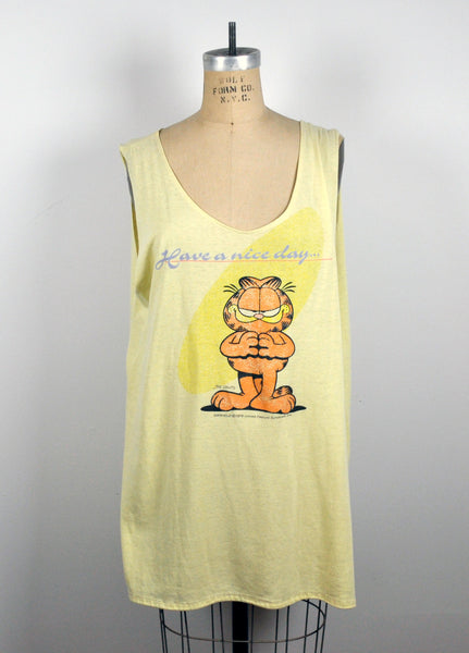 Vintage Yellow 1978 Garfield Oversized Yellow Muscle Beach Tank - Have a Nice Day