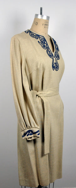 Vintage Miss Caftan Beige Tunic Rounded V Neck Embroidered Dress