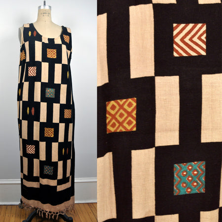 Vintage Geometric Brown Graphic Pattern Swatches Fringe Longsleeve Dress