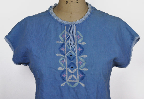 Vintage Blue Embroidered Ethnic Top Hippie Blouse