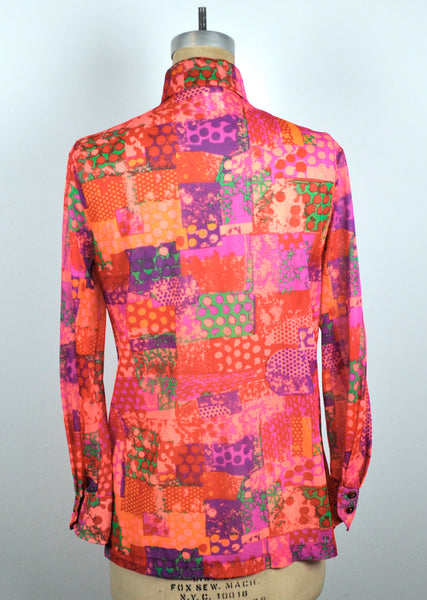 Vintage 1970s Accentuette See-through Neon Bright Color Graphics Button Down