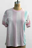 Vintage Soft 80s Cotton/Poly Pastel Washed Out Striped Jordache Tee Shirt