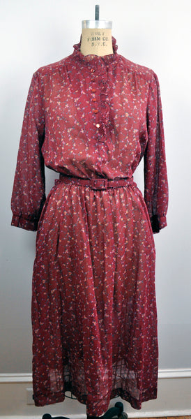 Vintage 70s Red Burgundy Floral Ruffled Amy-Deb Red Ruffled Dress