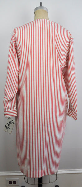 Vintage Red and White Long Sleeved Shirt Dress