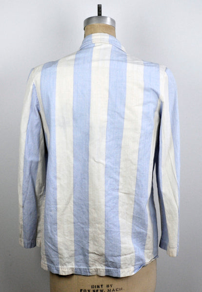 Vintage 90s Blue and White Stripped Beach Cotton Cardigan