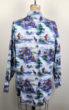 Vintage 90s Roughrider Blue Cowboy Lassos Pictoral Long Sleeve Western Shirt
