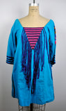 Vintage Bright Blue Embroidered Festival Hippie Fringe Mini Dress