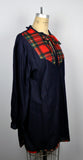 Vintage lightweight navy blue and red Plaid Keyhole Mini Dress Pullover