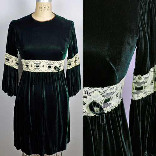 Vintage Holiday Lolita Dark Mod Green Gothic Velvet Mini Dress with Lace Waist and Peasant Sleeves