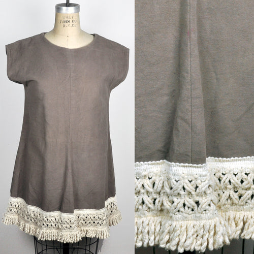 Vintage Light Brown Beige Sleeveless Mini Dress Rope Fringe Bottom Mod