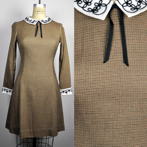 Vintage 60s 70s Brown Plaid Lolita Babydoll Mod Embroidered Collar and Tie Vicky Vaughan Junior Minidress