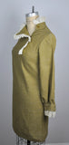 Vintage 60s Moss Green Lace Mod Ruffle Collar Mini Dress Gordon Peters Minidress
