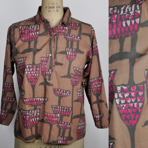 Vintage Ship 'n Shore Retro Wine Glasses Bacchanal Patterned Blouse