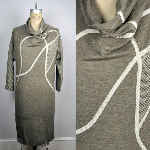 Vintage Koos Van Den Akker Cowl Neck Camel Geometric 80s Sweater Dress