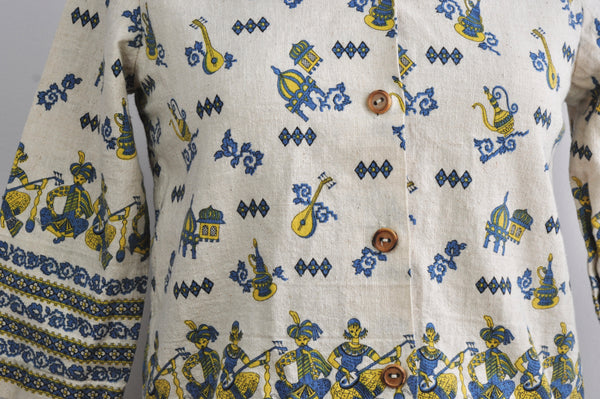 Vintage Indian Musician Cotton Button Up Wooden Button Blouse