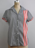 Vintage black and white striped short sleeved button up shirt with red stripes