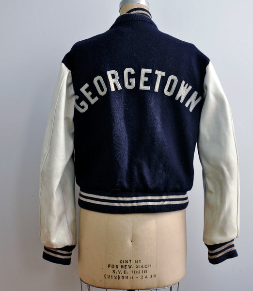 Vintage 1950s Georgetown University Leather Letterman Jacket Princeton Knitting Mills