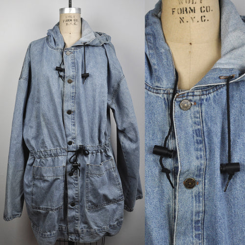 Vintage Blue 1990s Hooded Oversized Denim Cotton Jean Jacket