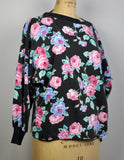 Vintage 1980 Scruples Black and Pink Floral Printed Graphic Sweatshirt