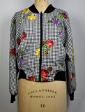 Vintage 1990s Darlyn Zip Up Lightweight Plaid and Floral Jacket