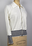 Vintage 1970s Acrylic Wool White Zip up Cardigan with Striped Band