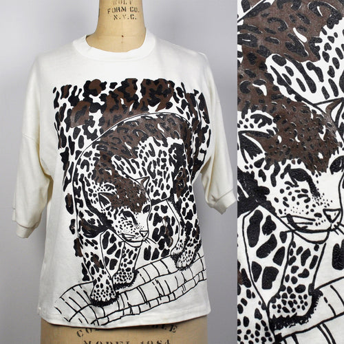Vintage 1990s Soft Cotton Oversized Jaguar T Shirt