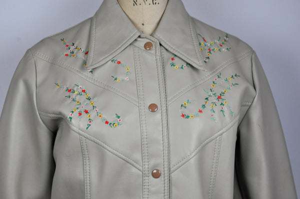 Vintage 1970s Gino Ponti Faux Leather Vinyl Embroidered Hippie Boho Jacket