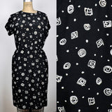 Vintage 1990 Black Squiggly Geometric Formfitting Dress