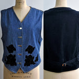 Vintage Lizwear 90s Denim Applique Sequin Black Vest