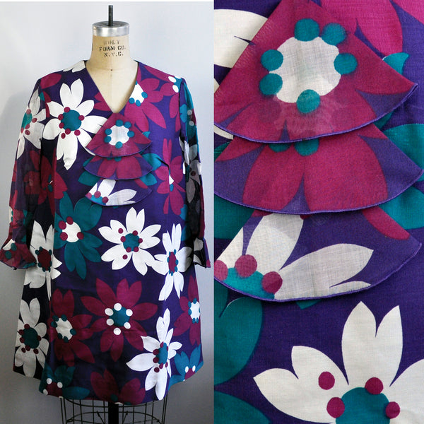 Vintage Purple Flower Carnaby Street Mod Micro Mini Dress Ruffle Bib