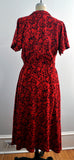 Vintage Red and Black Graphic Print Inkblot Shirtwaist Dress