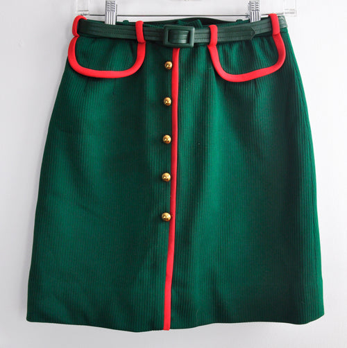 Vintage 60s Green Haymaker Golf Micro Mini Skirt with Pink Piping