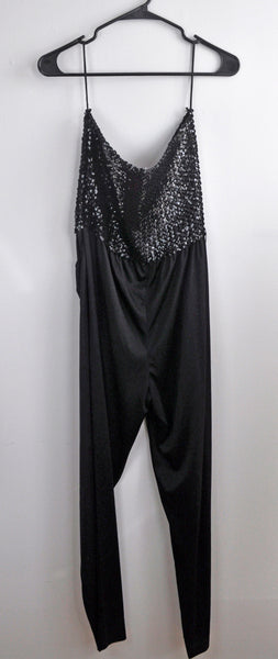 Vintage Black Sequin Strapless Bandeau Romper with Pockets