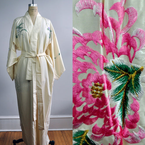 Vintage Japanese Cream Embroidered Pink Flowers Kimono Silk Robe