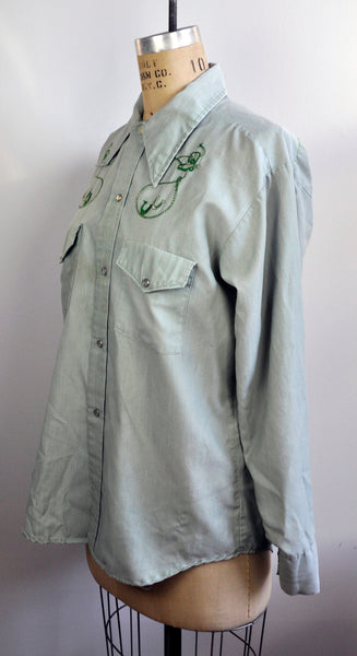 Vintage Embroidered Lasso Horseshoes Cowboy Pearl Snap Classic Shirt