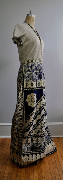 Vintage 1970s Roger Milot for Fred Perlberg Ethnic Block Print Maxi Dress