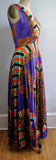 Vintage 70s Paisley Psychedelic Maxi Dress Orange and Purple
